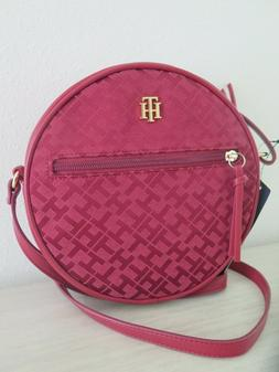 Tommy Hilfiger Dk Red Signature TH Logo Round Canteen Crossb