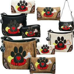 Dog Paw Print Handbag Crossbody Carry Conceal Shoulder Purse