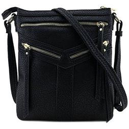 Double Compartment Crossbody Bag With Zipper Accent Black
