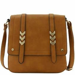 Double Compartment Large Flapover Crossbody Bag Camel