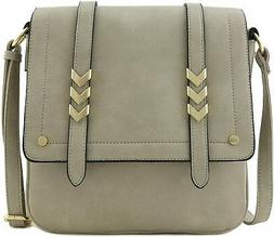 Double Compartment Large Flapover Crossbody Bag, Light Grey,