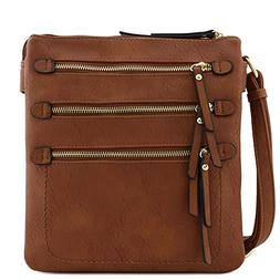 Double Compartment Triple Front Pocket Zippers Crossbody Bag