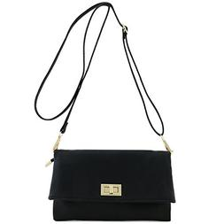 Double Compartment Turnlock Envelope Clutch Crossbody Bag Bl