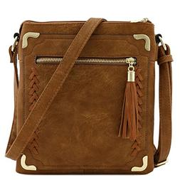 Double Compartment Whipstitched Crossbody Bag with Tassel Z