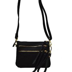 Double Front Pocket Zippers Crossbody Bag