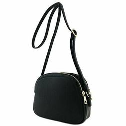 Double Zip Half Moon Crossbody Bag