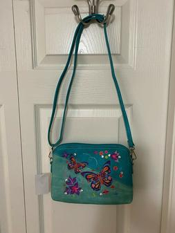 EMBROIDERED BUTTERFLY CROSSBODY & CELL PHONE BAG - ADJ. STRA