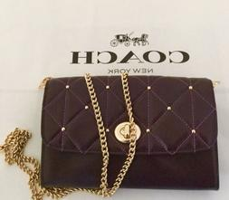 COACH F23816 QUILTED LEATHER CHAIN CROSSBODY IM/OXBLOOD PURS
