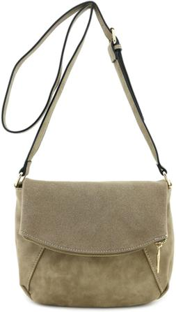 Faux Calfskin Leather Crossbody Bag with Suede Flap Stone