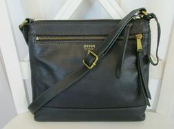 Fossil Fiona Black Pebbled Leather Small Crossbody Shoulder