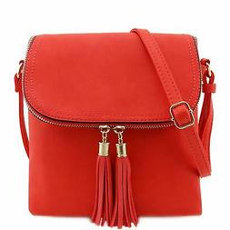 Flap Top Double Compartment Crossbody Bag with Tassel Accen