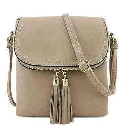 Flap Top Double Compartment Crossbody Bag with Tassel A