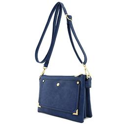 Front Pocket Accent Multi Compartment Small Crossbody Bag