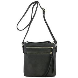 Functional Multi Zip Pocket Crossbody Bag Dark Grey