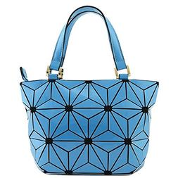 Geometric Lattice Small Top Handle Crossbody Purse Blue