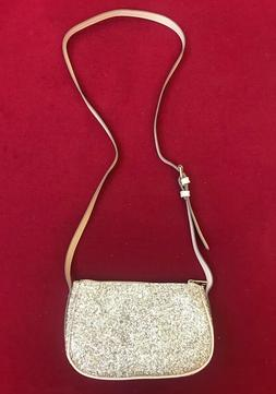 gold glitter crossbody bag purse faux leather