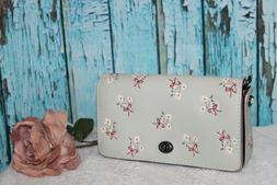 GORGEOUS! COACH 1941 Floral Bow Print Pale Green Leather Din