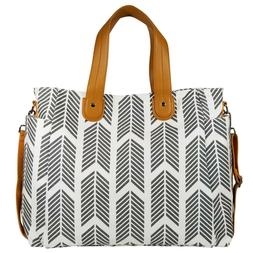 Gray Arrows Weekender Tote Bag by White Elm - Large Diaper T