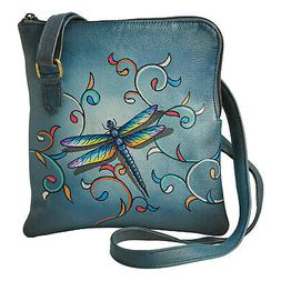 Floriana Hand Painted Dragonfly Shoulder Bag Leather Crossbo