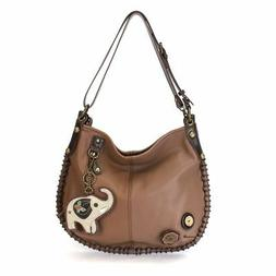 Chala Hobo Crossbody Large Bag Elephant Pleather BROWN Conve