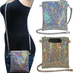 Holographic Crossbody Cell Phone Bag in Silver & Gold Metall