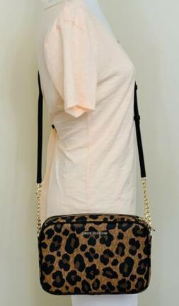 MICHAEL KORS JET SET LARGE EW CROSSBODY BAG IN LEOPARD PRINT