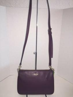 Kate Spade Madelyne Larchmont Avenue Deep Plum Leather Cross