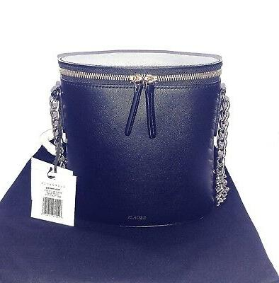 $755 Black Leather Bag with Tone Chain