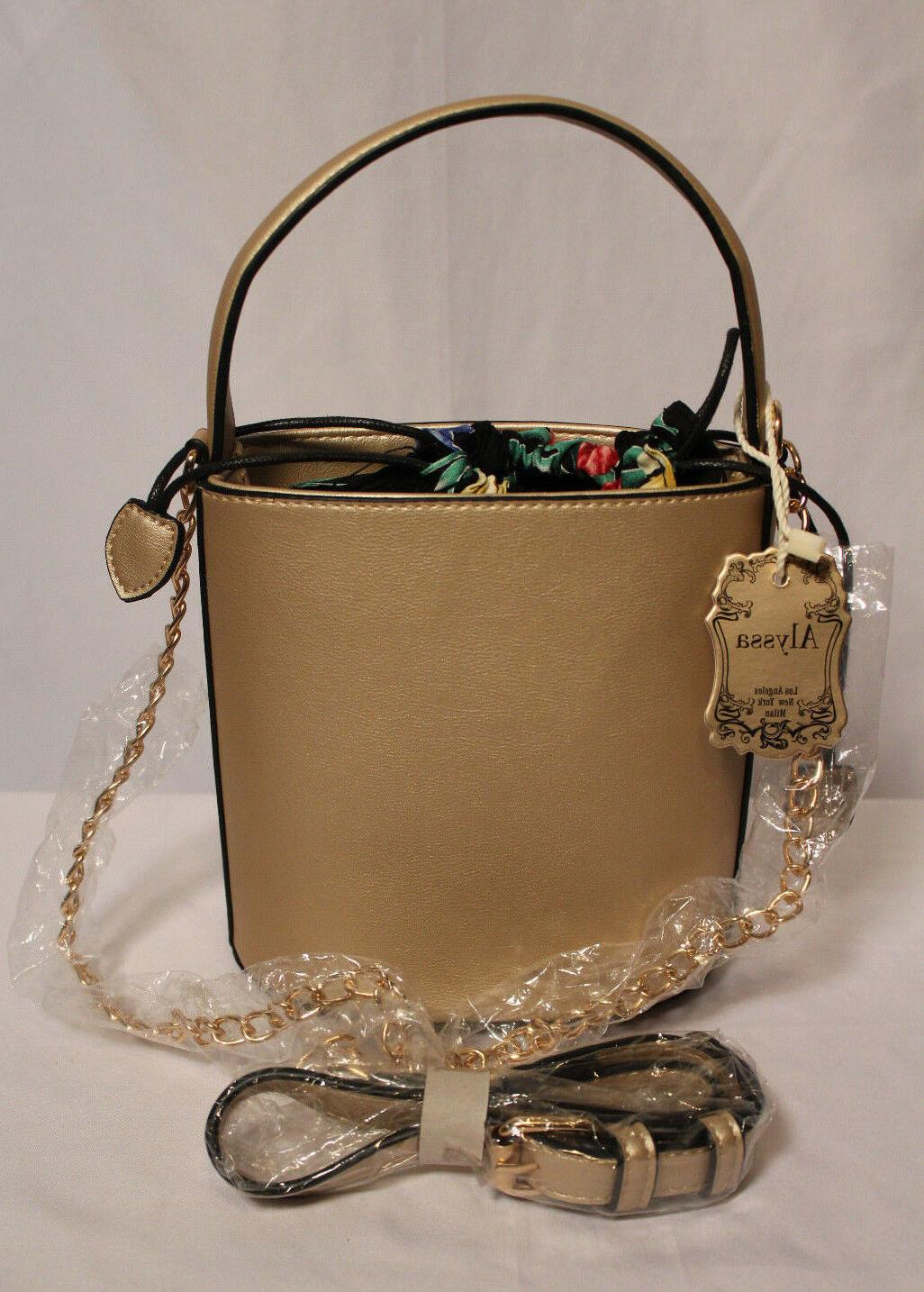Alyssa NWT Gold Bucket/Crossbody Bag Vegan and Lead Safe Bag