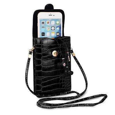 Black Leather Crossbody Case Pouch Bag for iPhone 8 Plus / S