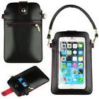 Black PU Leather Carry Pouch Wallet Cross-body Case Bag for