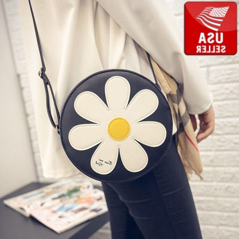 Fashion Women Round Flower Shoulder Handbag Purse Tote Cute