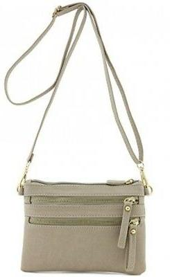 FashionPuzzle,Multi Zipper Pocket Small Wristlet Crossbody B