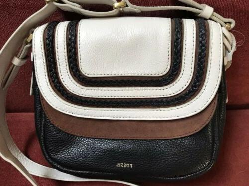 Fossil Peyton Leather Tri-Color Crossbody Bag New With Tags
