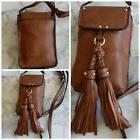ISABELLE VEGAN BROWN MESSENGER BAG TASSELS CROSSBODY PURSE S