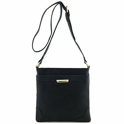 Isabelle Classic Medium-Sized, Faux Leather Solid Black