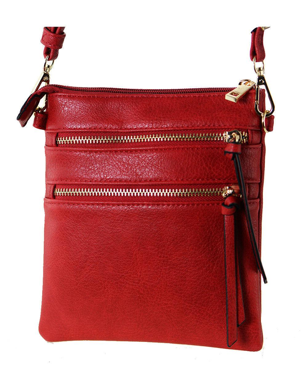New Functional Multi Pocket Crossbody Bag 80808A RED ,WITH T