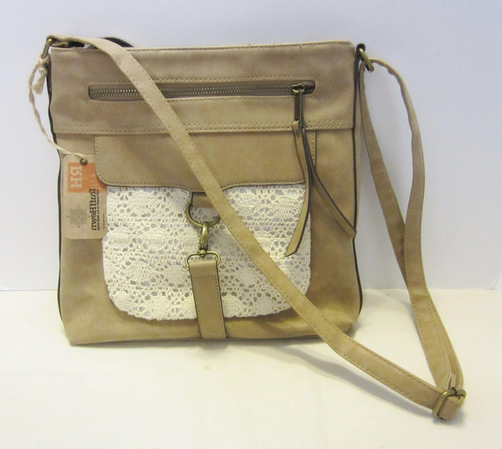 Rough Hewn Tan Faux Leather Cross Body Shoulder Bag with Lac