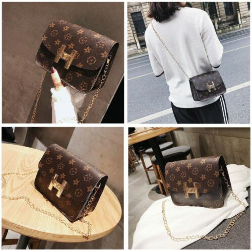 Women's Quilted Chain Brown Bag Leather Shoulder Bag Crossbo