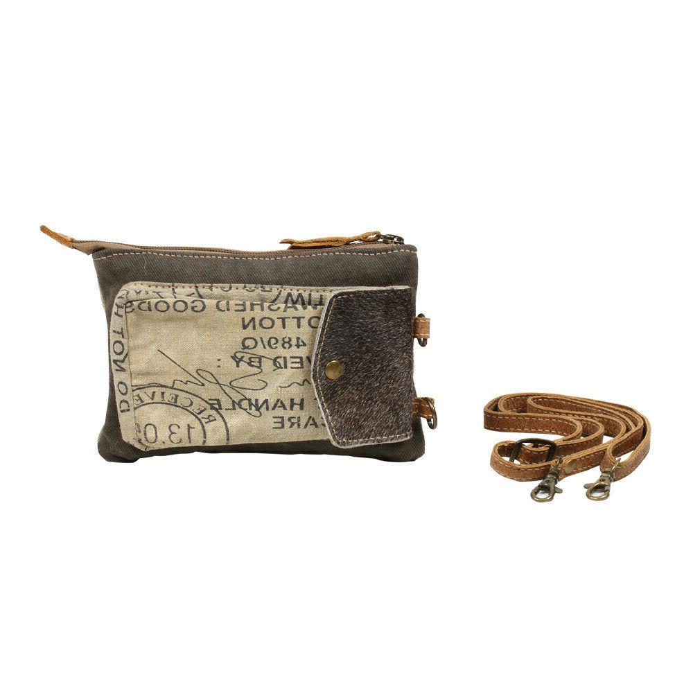 bag stamp pocket upcycled canvas crossbody pouch