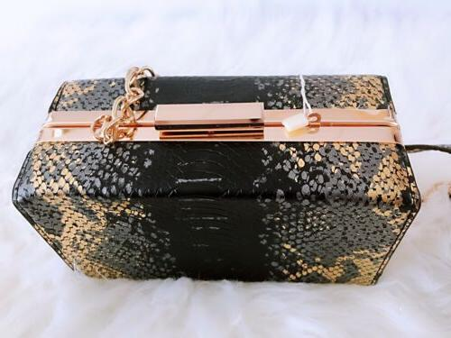 ISABELLE Black/Gold Snake-Like Shoulder bag NEW