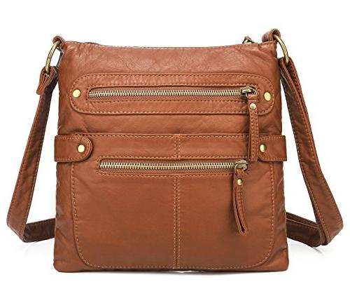 casual double zipper crossbody bag h182004 brown