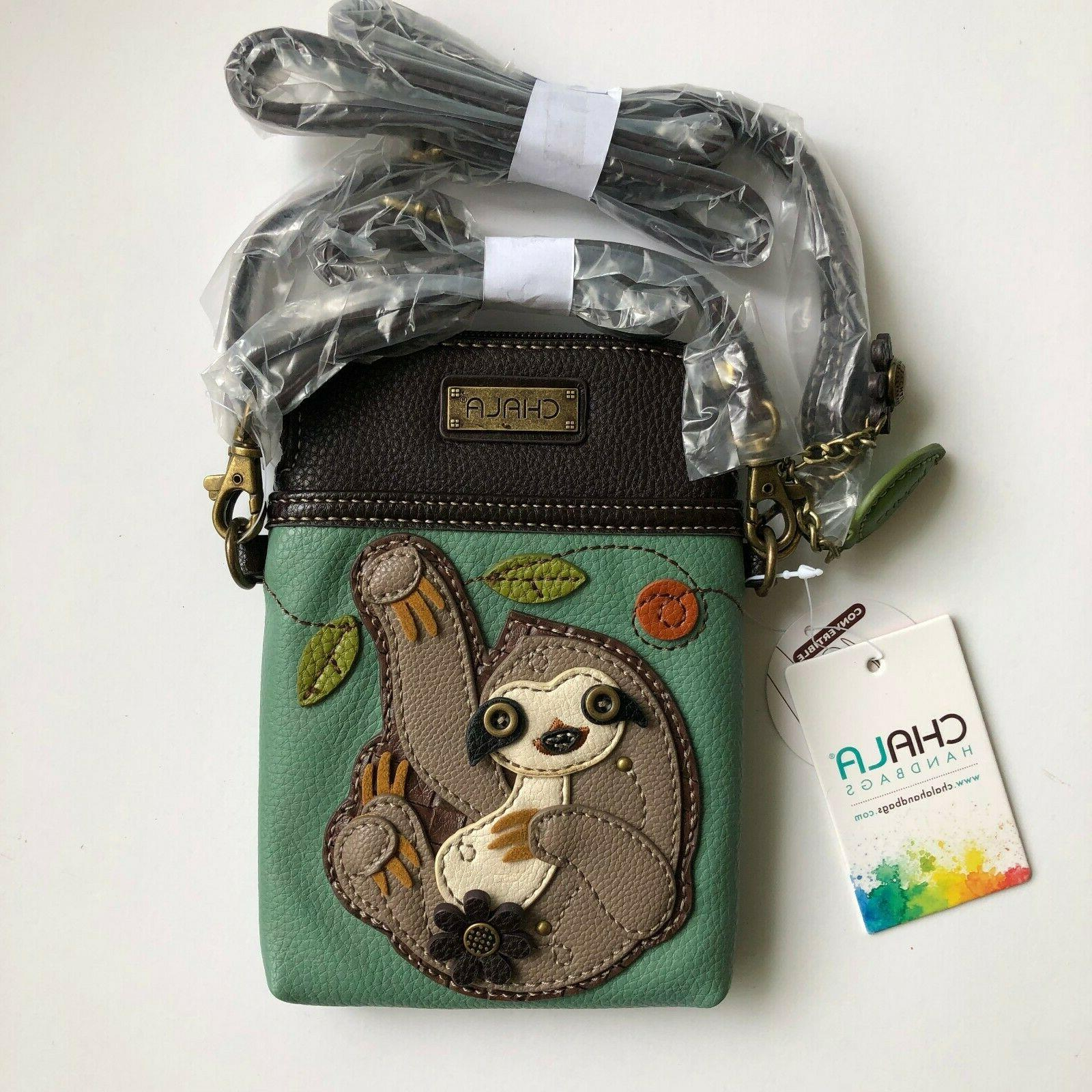 Chala Cell Phone Bag Sloth Teal Adjustable