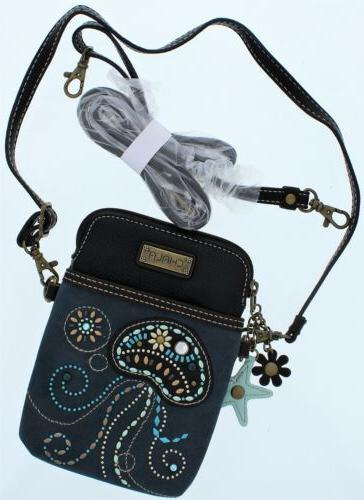 Chala Cell Phone Purse Crossbody Pleather Converts Blue Dazz