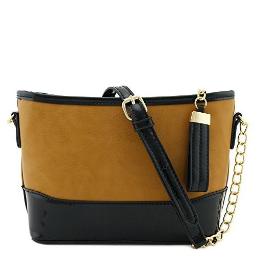 chain strap shoulder bag with patent leather