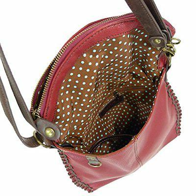 Chala Charming Crossbody with Flap and Metal - Burgundy -