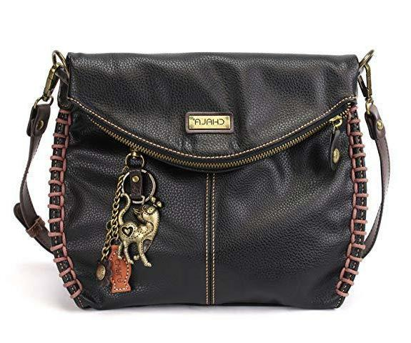 charming black crossbody bag with flap top