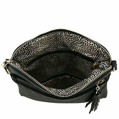 Chevron Quilted Crossbody Bag with Black
