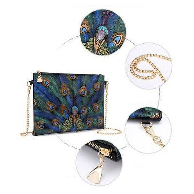 Chic Peacock PU Leather Crossbody In