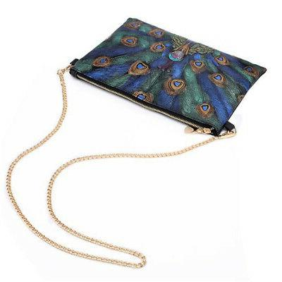 Chic Peacock PU Leather Bag Crossbody Bag In